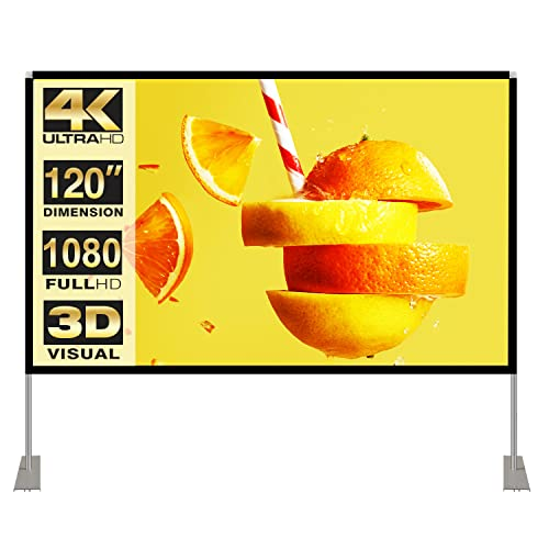 Projector Screen with Stand 120 inch 16:9 HD 4K Outdoor Indoor Projection Screen for Home Theater 3D Fast-Folding Projector Screen...