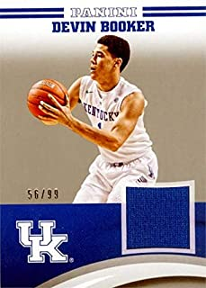 Devin Booker player worn jersey patch basketball card (Kentucky Wildcats) 2016 Panini Team Collection #DB-UK LE 56/99