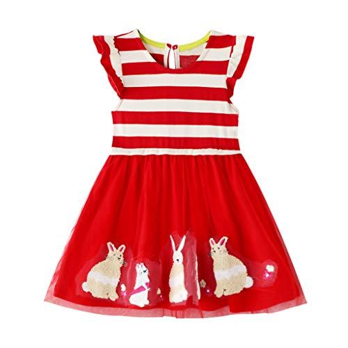 Ucoolcc Kinder Mädchen Ärmellos Kleider Stickerei Bunny Prinzessin Kleid Gestreifter Drucken Kleid Taufkleid Festlich Kleid
