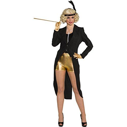 Amakando Showgirl Frack Damenfrack schwarz S 34/36 Gehrock Damen Revue eleganter Frauenfrack Kabarett Cabaret Show Kostüm 30er Jahre Charleston Outfit