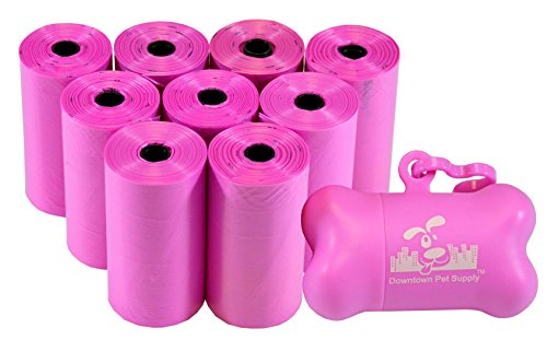 180 Pet Waste Bags, Dog Waste Bags, Bulk Poop Bags with Leash Clip and Bone Bag Dispenser - (180 Bags, Pink)