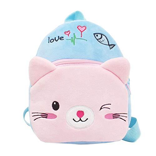 Winkey Rucksack für Kinder, Baby, Mädchen, Jungen, niedlicher Cartoon-Tierrucksack, Schultasche, Schultertasche blau Blaue Katze wide 20cm x height 24cm