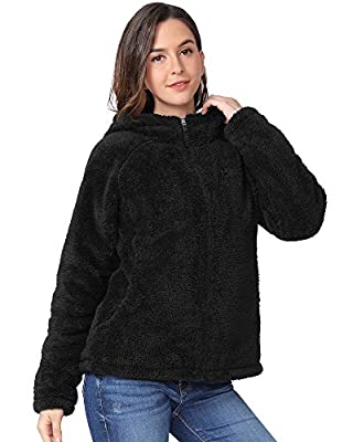 CAMEL Women Fleece Jackets with Pockets Fashion Hooded Long Sleeve Soft Full Zip Fleece Coat for Outdoor