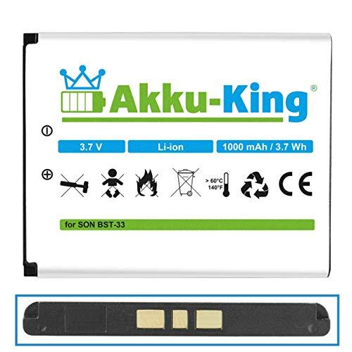 Akku-King Akku kompatibel mit Sony-Ericsson BST-33 Li-Ion 1000mAh - für K800i, K530i, K550i, K630i, K660i, K800i, K810i, P990i, W850i