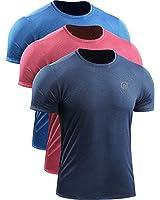 Neleus Men's 3 Pack Dry Fit Workout Athletic Shirt,5064,Blue,Red,Stone Blue,US L,EU XL