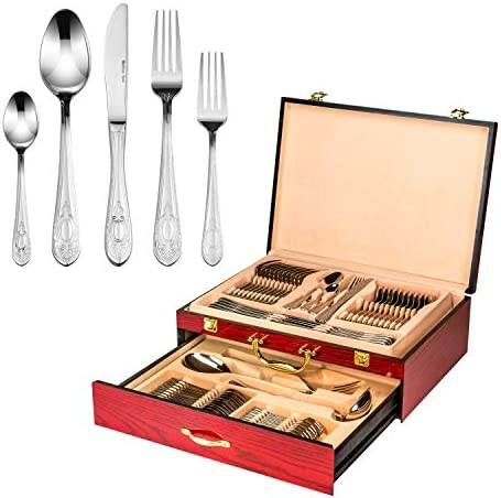 Italian Collection Dominion 65 Pc Premium Silverware Flatware Serving Set Dining Cutlery Service product image