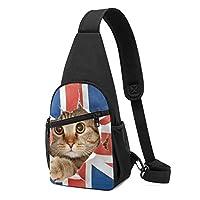 アメリカ国旗 猫 ショルダーバッグ チェストバッグ 多機能 軽量 メッセンジャーバッグ防水旅行ウエストバッグ 携帯ポーチ カードが 小物入れ 収納 ユニセックス クロスボデ