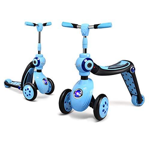 GOPLUS 2 in 1 Scooter, Kinderroller Höhenverstellbar, Roller mit PU Rad, Tretroller für Kinder ab 3 Jahren, Kickboard bis 30 kg Belastbar, Dreiradscooter (Blau)