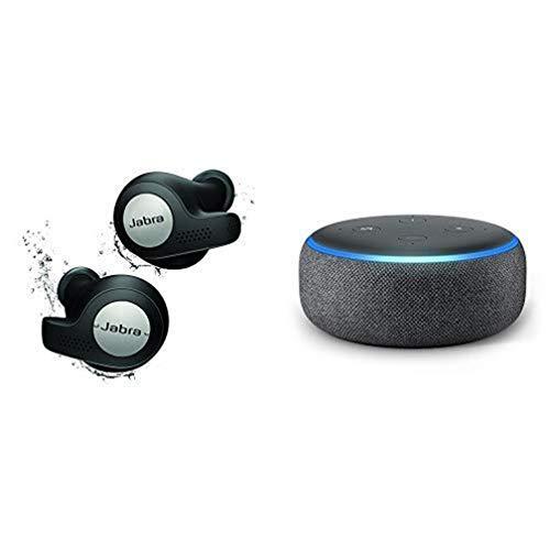 Jabra Elite Active 65t Écouteurs Bluetooth 5.0 True Wireless Sport avec le service vocal Amazon Alexa intégré - Noir + Nouvel Echo Dot (3ème génération), Enceinte connectée avec Alexa, Tissu anthracite