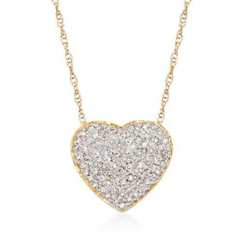 Ross-Simons 0.25 ct. t.w. Diamond Heart Pendant Necklace in 14kt Yellow Gold For Women 16-20 Inch (0.25 Ct Diamond Necklace)