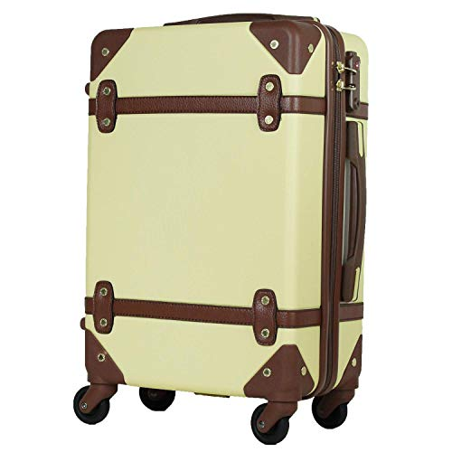 MOIERG(モアエルグ)キャリーバッグ YKKファスナー 軽量 キャリーケース スーツケース 修学旅行[71-80023-23](L, ベージュ×ブラウン)
