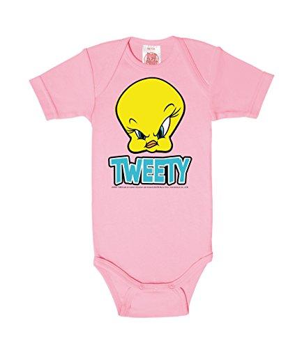 Logoshirt Looney Tunes - Kanarienvogel - Tweety - Head Baby-Body Kurzarm Mädchen - Baby Strampler - pink - Lizenziertes Originaldesign, Größe 62-68