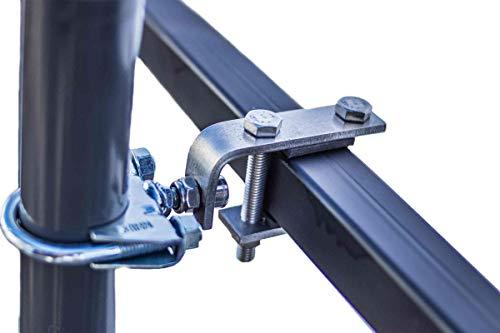 STORM-PROOF - Sonnenschirmhalter für rechteckige Geländer, Schirmstockdurchmesser von 38mm bis 45mm, stabile 2-Punkt-Befestigung komplett aus Stahl