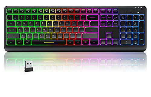 Backlit Wireless Keyboard, seenda 2.4G Rechargeable Wireless Illuminated Keyboard, Full Size Ergonomic RGB Backlit Gaming Keyboard with Foldable Stand for Computer/Desktop/PC/Laptop/Office