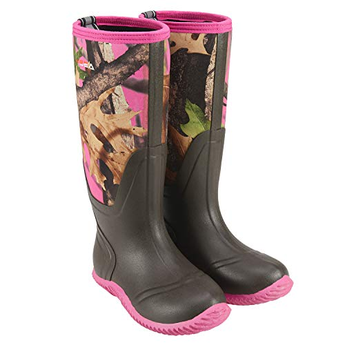 HISEA Women's Rubber Rain Boots Waterproof Insulated Garden Shoes Outdoor Hunting Working Riding Muck Neoprene Boots Mid Calf (Pink Camo, numeric_8)