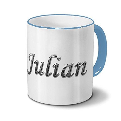 Tasse mit Namen Julian - Motiv Chrom-Schriftzug - Namenstasse, Kaffeebecher, Mug, Becher, Kaffeetasse - Farbe Hellblau