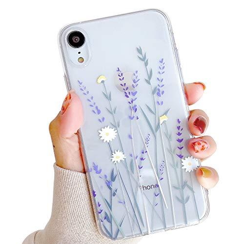 HJWKJUS Compatible con iPhone XR funda para niñas y mujeres, elegante y encantadora flor floral flora suave y transparente TPU goma...