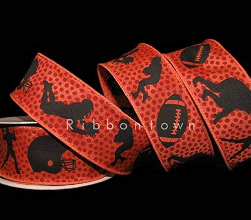TAKAZOON Ribbons Supplies for 10 Yards Football Players Helmet Touchdown Wired Ribbon for DIY Craft, Gift Wrapping, Christmas Wreaths Decoration. - 1 1/2'W.