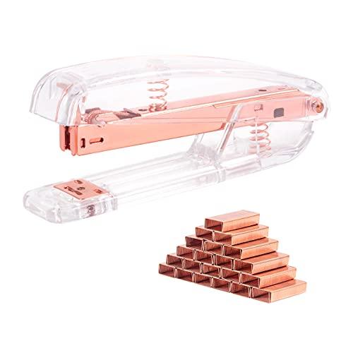 Grapadora de oficina pequeña, escritorio transparente operada por resorte con 1000 grapas para suministros de oficina modernos, grapadora manual mini grapadora con 24/6 mm o, oro rosa