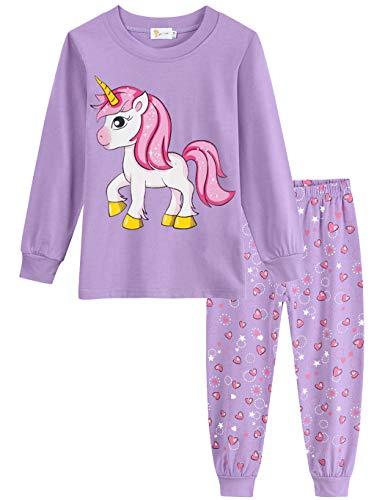 Little Hand Schlafanzug Mädchen Einhorn Kinder Zweiteiliger Baumwolle Lange àrmel Nachtwäsche T-Shirt und Hose, Einhorn-1, 104 (HerstellerGröße: 110)