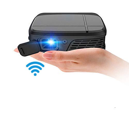 Mini Pocket DLP Wifi Projector with Battery, 3D 1080P Full HD Support, Mobile Wireless Portable LED Home Theater Outdoor Projector HDMI USB Audio Airplay for iPhone iPad Android DVD PS4 Movies Gaming