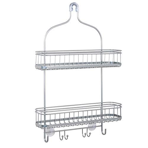 Zenna Home Extra Wide Shower Caddy, Satin Chrome