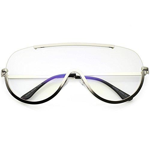 zeroUV - Oversize Semi Rimless Metal Trim Clear Mono Lens Shield Eyeglasses 65mm (Silver/Clear)