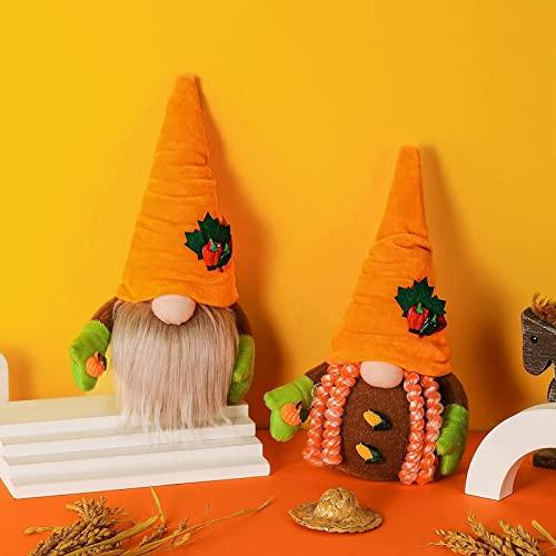 dh-15 2 Stück Herbstdekorationen, Erntefest Gartenzwerge, Orange Karotte Kürbis Mais Plüschpuppen, Herbst Ahornblätter