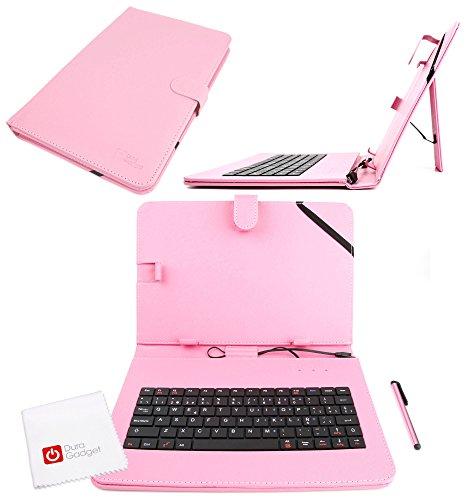 DURAGADGET Funda/Teclado ESPAÑOL Rosa para Tablets De 10 Pulgadas + Lápiz Stylus + ¡Gamuza Limpiadora! - con Letra Ñ - con Conexión MicroUSB- Función Atril