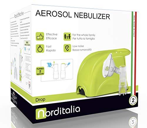 NORDITALIA Aerosol Made in Italy, Veloce Silenzioso, Bambini e Adulti, Tutti gli Accessori Inclusi, Compressore a Pistone, Inalatore per Terapia, Raffreddore, Tosse, Mal di Gola, Allergie
