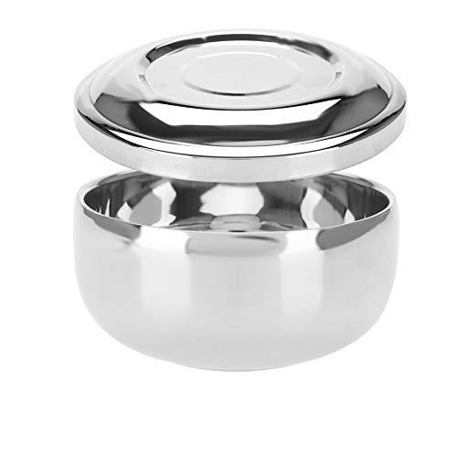 Cuenco de jabón de afeitar, recipiente de taza de afeitar de acero inoxidable universal para hombres con espejo