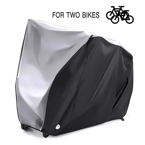 Alfheim Fahrradabdeckung für 2 fahrräder - 210D Oxford Schwerlast Draussen - Wasserdicht Atmungsaktiv Fahrradabdeckungen mit 2 Verriegelungslöchern - Anti Staub Regen Schnee UV mit Aufbewahrungstasche
