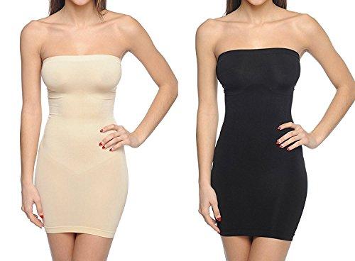 Body Beautiful Strapless Full Body Slip Shaper (2X/3X, 2 Pack Black/Nude)
