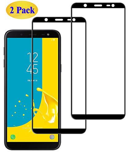 Eachy Compatibile with Vetro Temperato per Samsung Galaxy J6 2018, [2 Pezzi] Pellicola Protettiva per Samsung Galaxy J6 2018(SM-J600) Protezione Schermo 5,6 Pollici-Nero