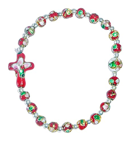 Pulsera rosario Técnica Cloisonne roja