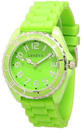 Geneva Silicone Watch Unisex Moving Bezel Wrist Watch Medium Size Dial (Lime Green)
