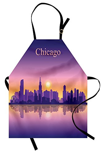 Ambesonne Chicago Skyline Apron, Sunset in Illinois American Horizon Behind High City Silhouettes, Unisex Kitchen Bib with Adjustable Neck for Cooking Gardening, Adult Size, Apricot Purple