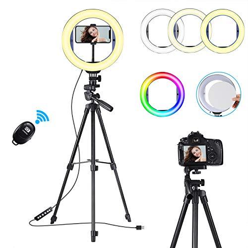 "Koolertron Aro de Luz, Ring Light RGB 10"" Anillo de Luz Trípode Fotografía con Control Remoto Bluetooth,Selfie Luz del Anillo LED 3 Modos 10 Brillos Aro de Luz para Movil,Maquillaje,Youtube,TIK Tok"