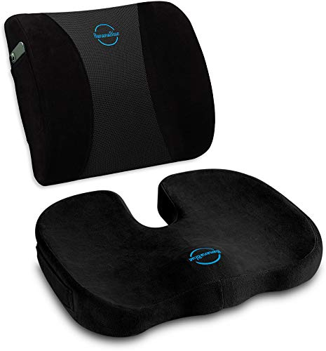 Ultimate Set: Ergonomic Back and U-Shaped Seat Cushions. 100% Memory Foam Orthopedic Pillows for Car, Office and Home Chairs. Relieves Coccyx, Tailbone, Sciatica, Lumbar Pain, Improves Posture. Black