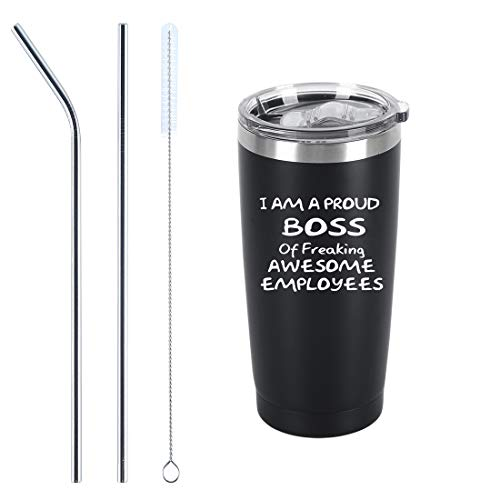 I Am A Proud Boss Of Freaking Awesome Employees Travel Tumbler, Funny...