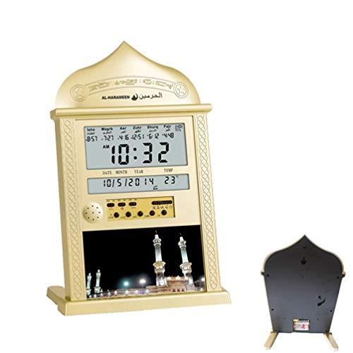DEAGUI Azan Clock Athan Prayer Clock Automatic Azan Wall Prayer Clock Islamic Quran Muslim Gold