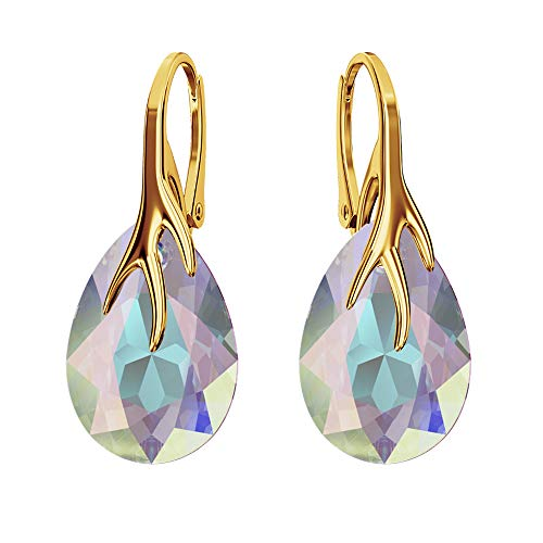 Gold-Plated 24 K 925 Sterling Silver Earrings with Swarovski Crystals – Claw Pear – Many Colours – Earrings for Women – Beautiful Jewellery for Women with Gift Box Crystal AB