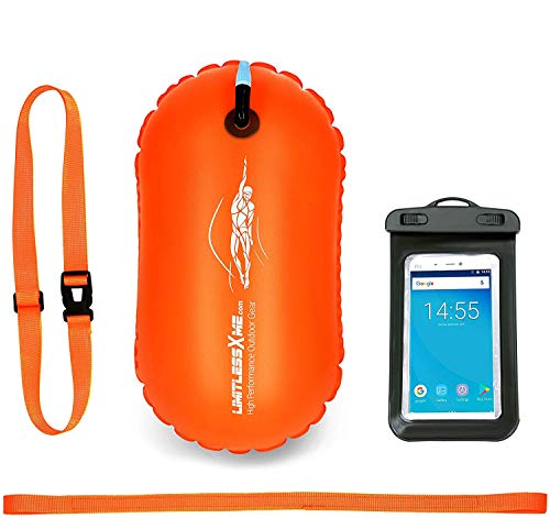 LimitlessXme Schwimmboje & Handytasche - 15l Orange. Sicherheit beim Schwimmen, Open Water und Triathlon. Swimming Buoy, Swim Bubble ✪ SCHWIMM BOJE AUFBLASBAR ✪