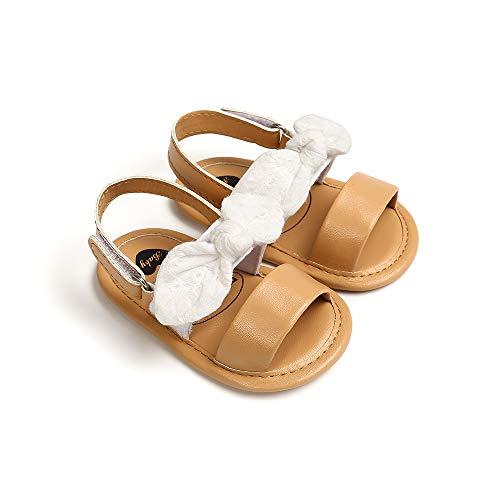 Carolilly Zapatos de bebé recién nacido bebé niña princesa lindo Bowknot zapatos verano bebé niña sandalias de PU antideslizante zapatos 0-18M Blanco 18 Meses