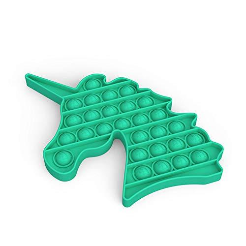 Yuccer Juguetes Antiestres, Push Bubble Fidget Juguete Sensorial para Adultos y Niños Juguetes para Aliviar la Ansiedad para ADHD Autismo Necesidades Especiales (Unicornio Verde)