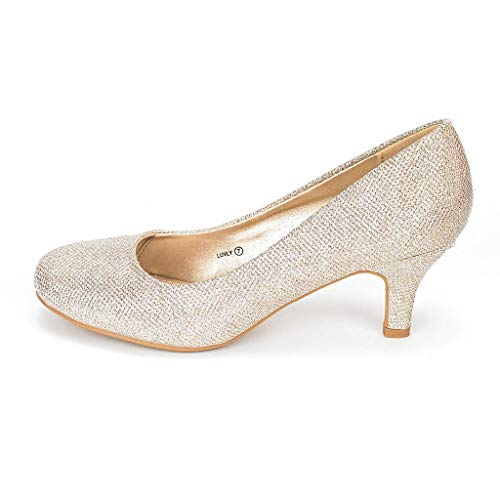 DREAM PAIRS Women's Luvly Gold Bridal Wedding Low Heel Pump Shoes - 7 M US