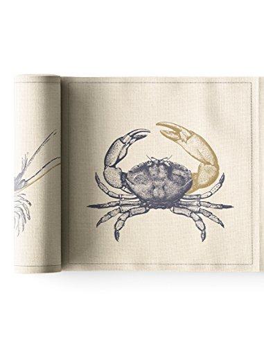 MY DRAP MYDRAP SRA21O/105-7 Table 20x20cm-Idéale pour fête, Anniversaire, Cocktail-Rouleau de 12 Serviettes-Motifs Ocean/Fruits de mer, Coton recyclé, Beige, 5 cm