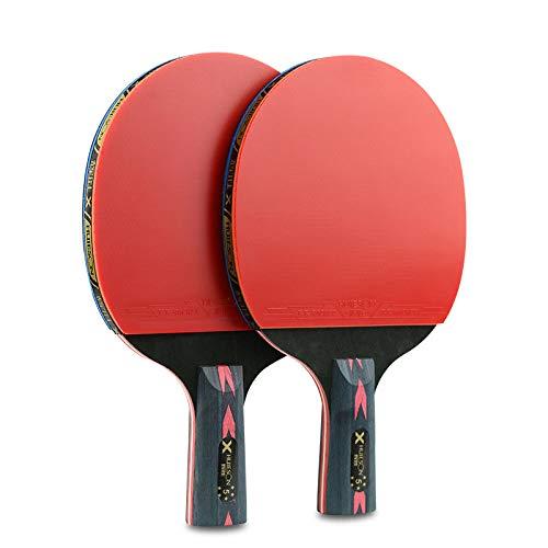 ZJH Bate para Tenis de Mesa de Fibra de Carbono, Juego de paletas de Ping Pong de 5 Estrellas (2 Piezas),Shorthandle