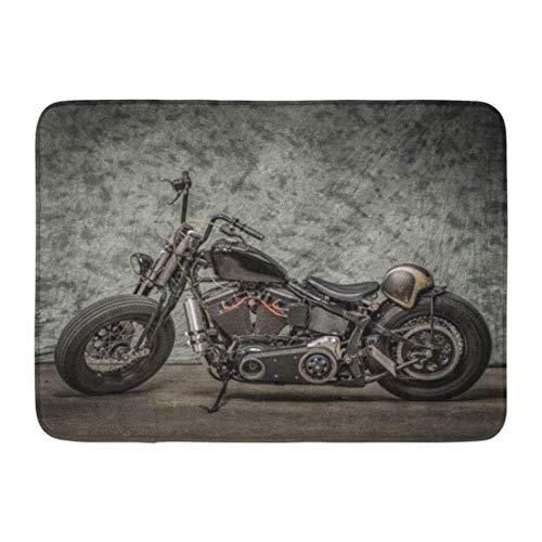 AGHRFH Felpudo Alfombras de baño para exterior/interior Harley motocicleta Cool Davidson Vintage Bike Chopper Classic Baño Decoración Alfombra 40,6 x 61 cm