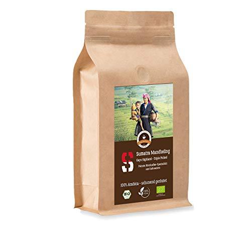 Kaffee Globetrotter - Bio Sumatra Mandheling Gayo Highland - 1000 g Ganze Bohne - für Kaffee-Vollautomat, Kaffeemühle, Handmühle - Spitzenkaffee - Röstkaffee aus biologischem Anbau